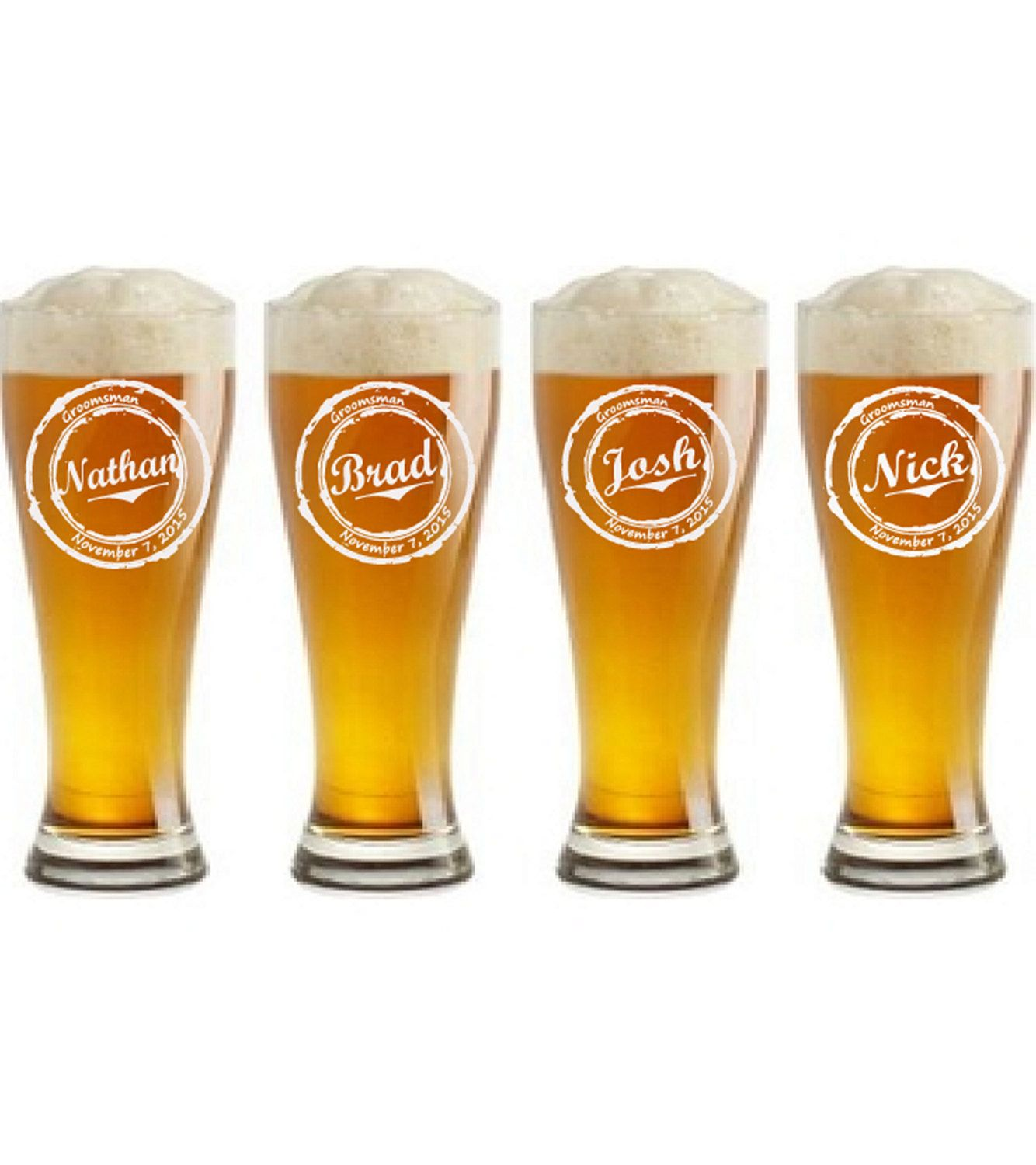 Personalized Beer Wedding Glasses - Groomsmen Toasting Glasses ...