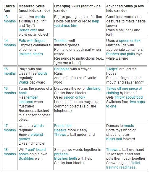 Babycenter's Development Chart 13-18 months