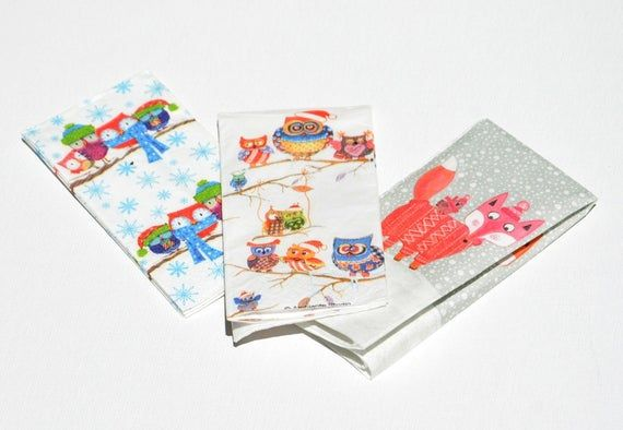 3 Mix Winter Paper Napkins for Decoupage - Christmas Print Paper Napkins -Owl  Decoupage Paper Napki #papernapkins