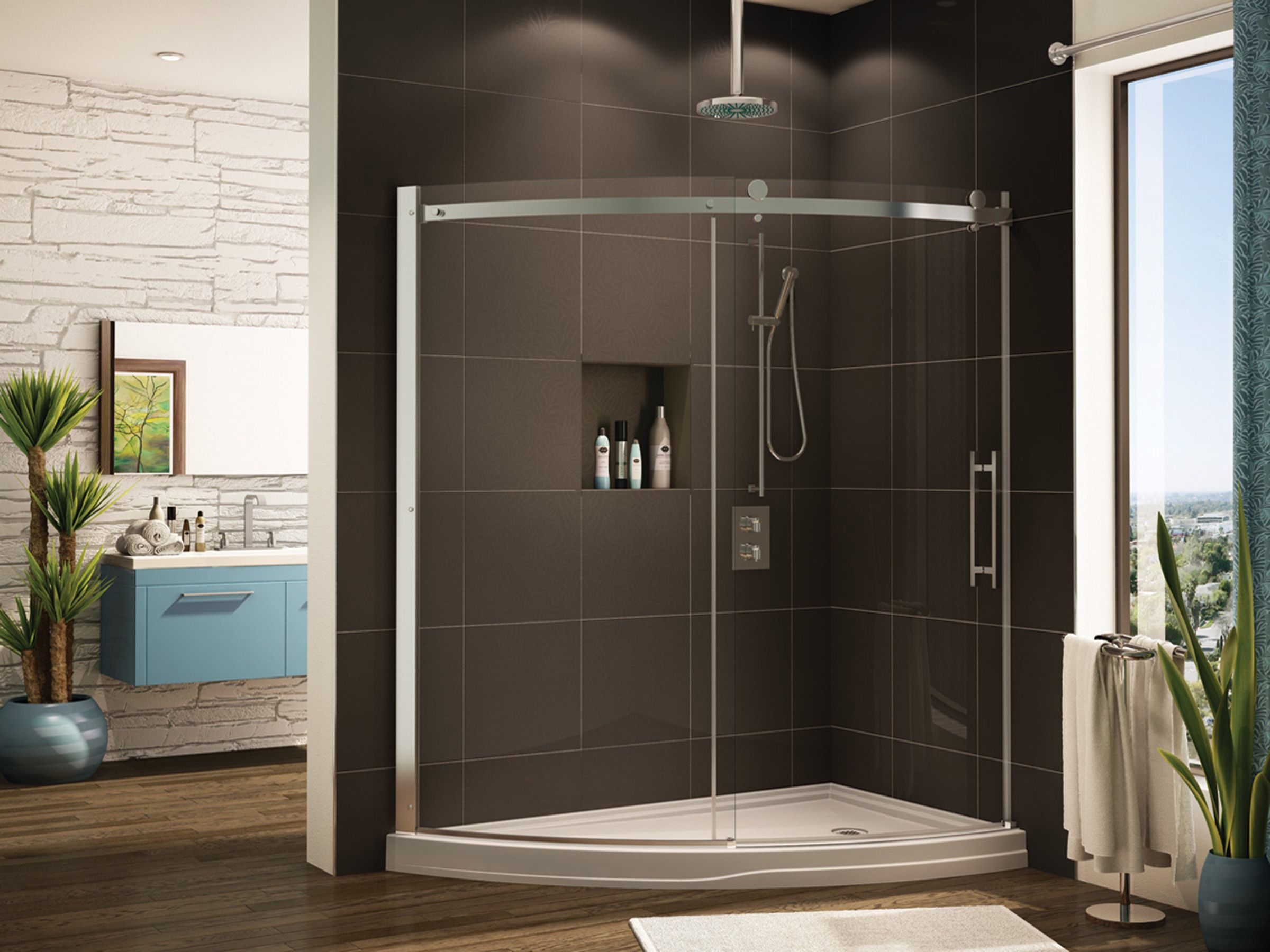 Moden Bathroom With Curved Glass Shower Door And Panel By