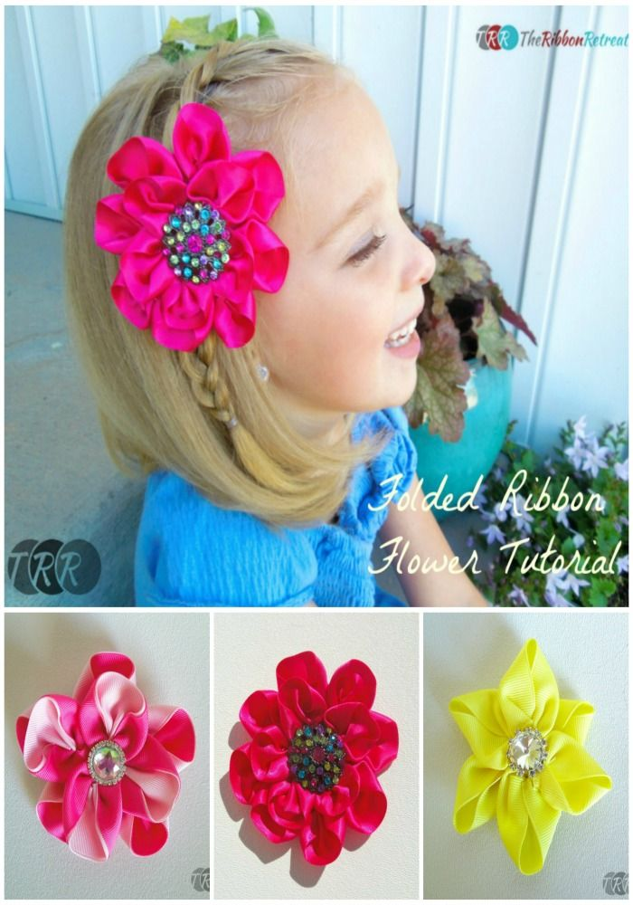 Folded ribbon flower the ribbon retreat blog bows hair ribbon flowers make wonderful hair accessories you can use any color or design of ribbon to create them and then adorn it with a gorgeous gem too mightylinksfo Images