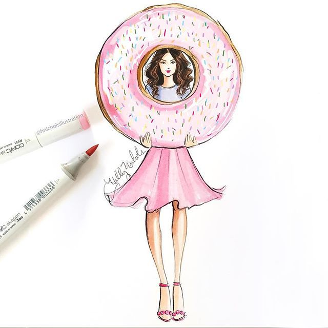 """A Donut A Day"" is on Etsy hnillustration.etsy.com 🍩🍩🍩"