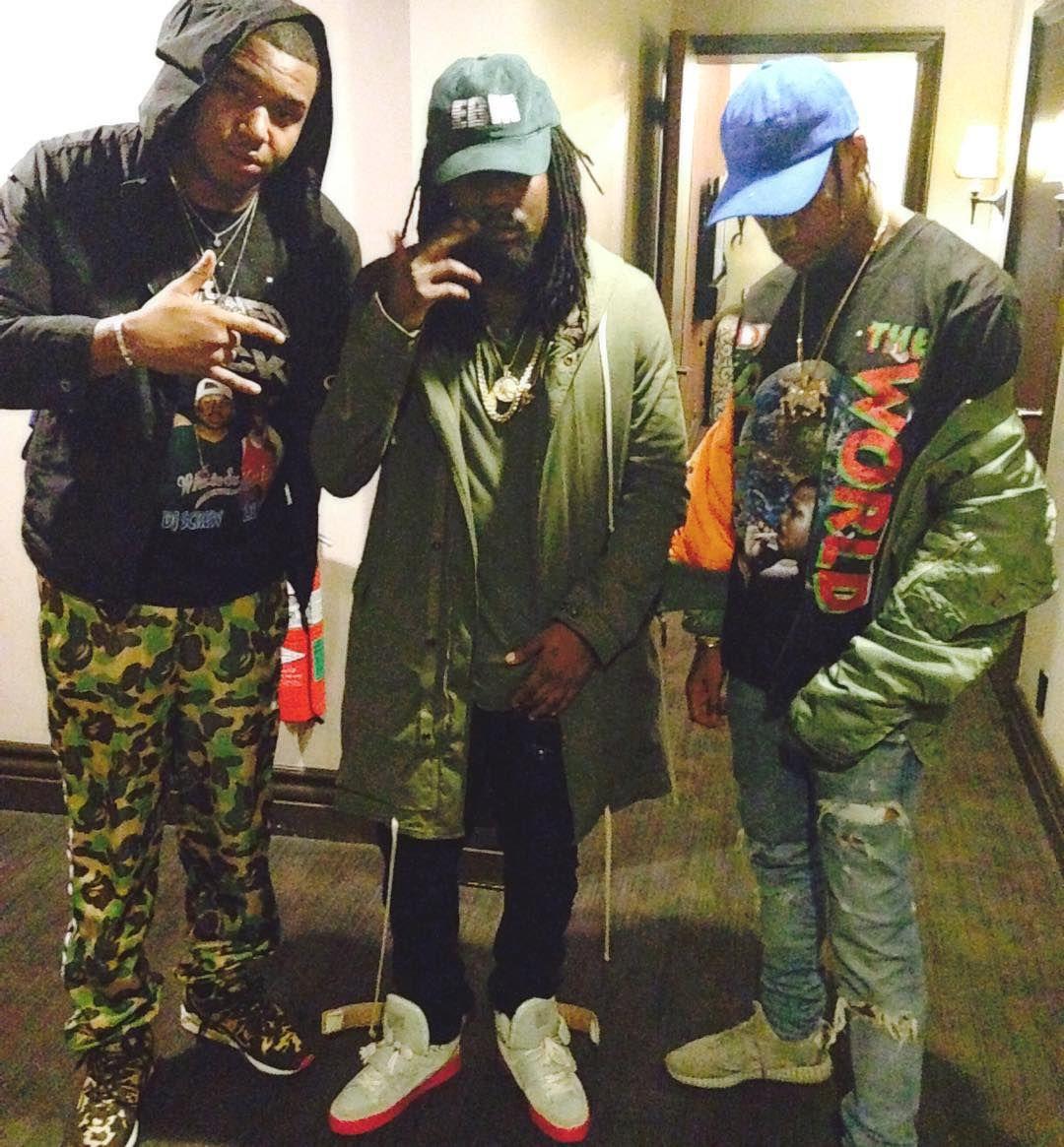 5d748f1bc74795 Wale wearing the Kanye West x Louis Vuitton Jasper  Travis Scott wearing  the  Moonrock  adidas Yeezy 350 Boost