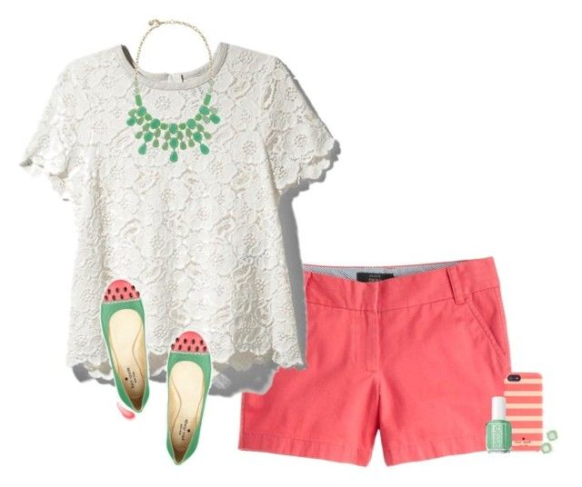 """""""Watermelon wishes! """" by curly-girl16 ❤ liked on Polyvore featuring J.Crew, Rachel Zoe, Stella & Dot, Kate Spade, Essie, Urban Decay and Anne Klein"""