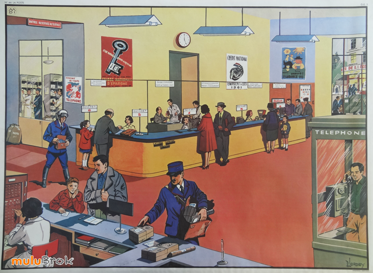 ancienne affiche scolaire la poste dessin d lordey editions m d i st germain en laye. Black Bedroom Furniture Sets. Home Design Ideas