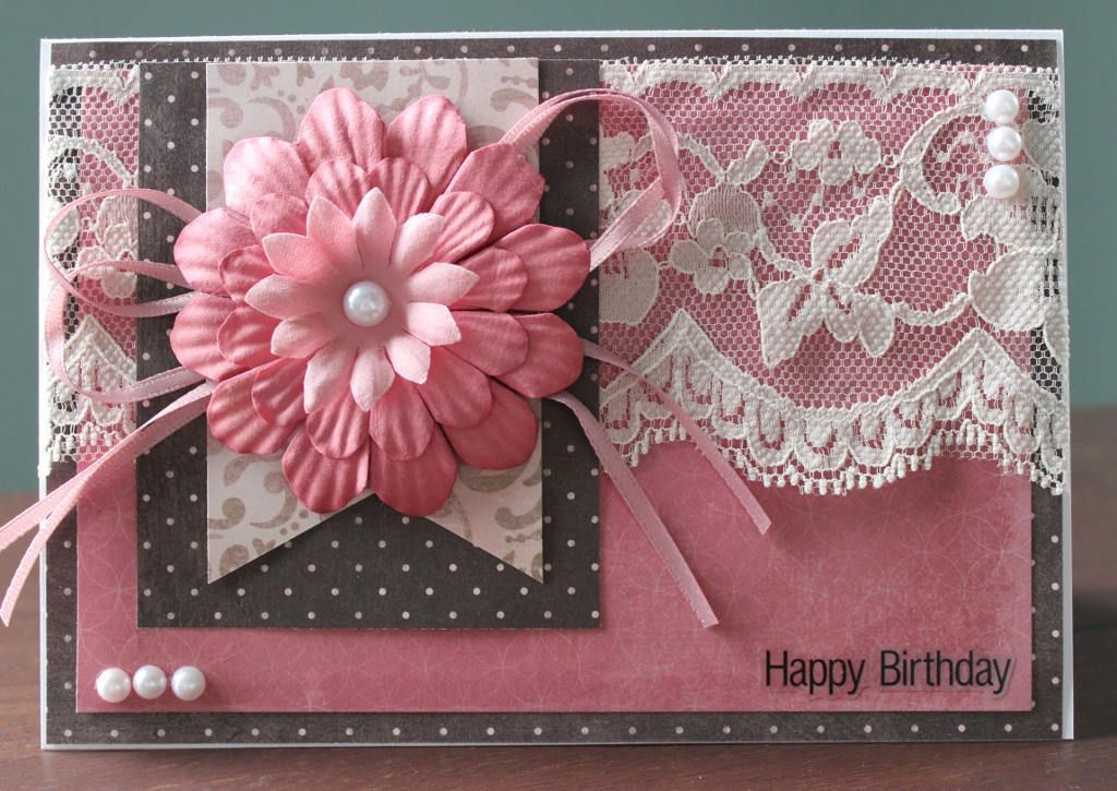 Hand Made, Card, Greeting, Happy Birthday, Birthday, Flowers, Ribbon, Bling, Lace, Sticker Sentiment, Patterned Paper by LibbysCraftStudio on Etsy