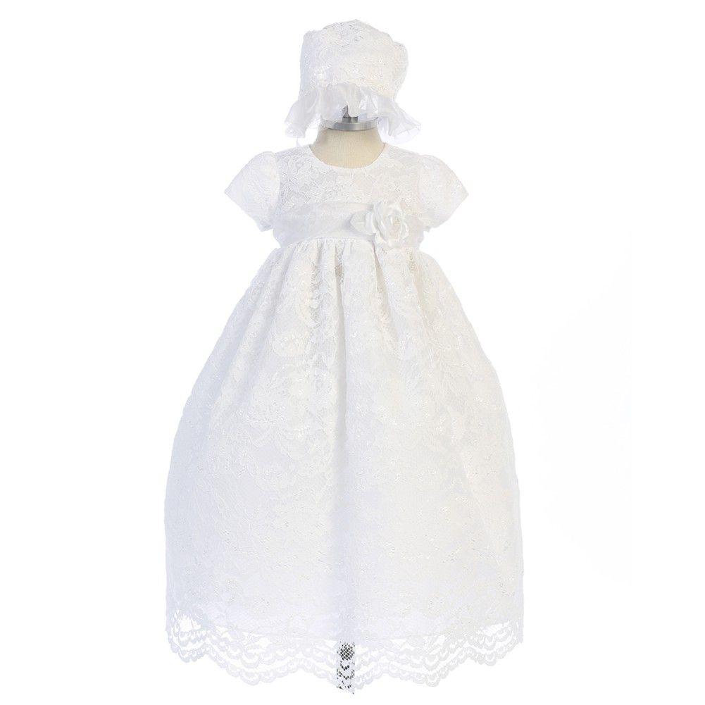 Crayon Kids Baby Girls White Lace Floral Long Baptism Dress Bonnet ...