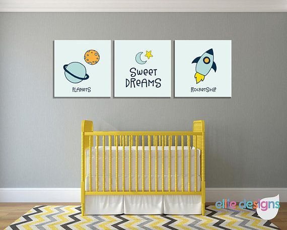 Outer Space Wall Art, Baby Boy Nursery, Bedroom Pictures, Canvas or ...
