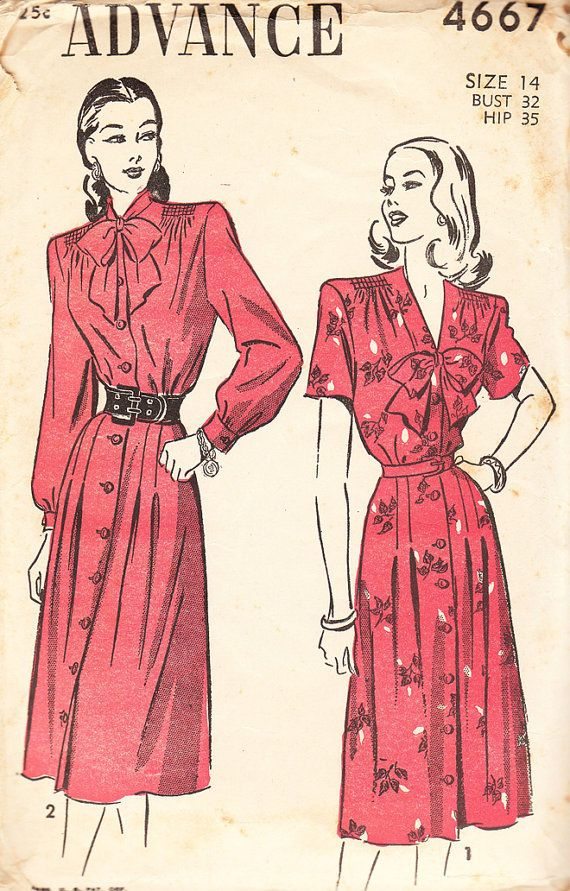 RARE 1940s Advance Sewing Pattern 700 Misses Blouse