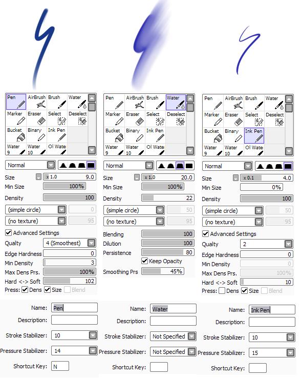 Settings Binary Eraser Paint Tool Sai