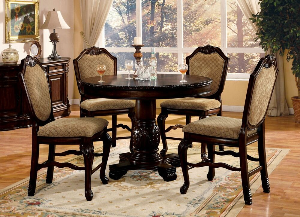 5 Pc Chateau De Ville Collection Cherry Finish Wood Round Counter Height  Pedestal Dining Table Set With Diamond Pattern Fabric Padded Chairs.