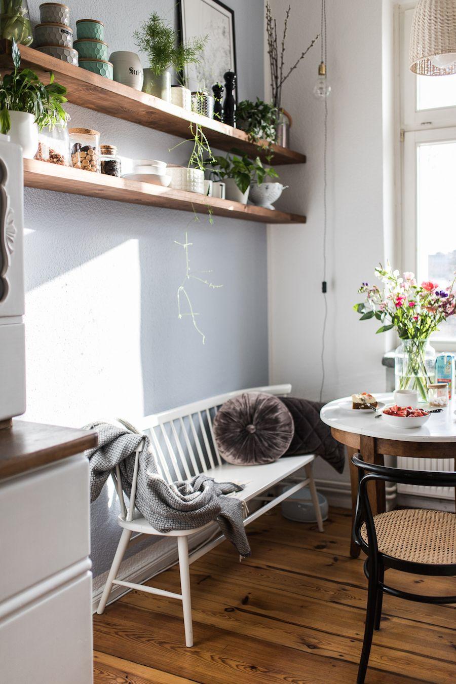 gemutliches zuhause dielenboden, sprossenbank in vintage küche dielen | interieur | homestory, Design ideen