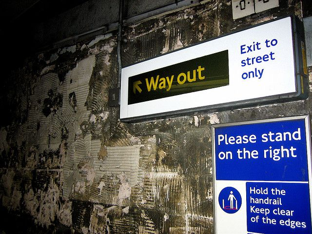 """There are no EXIT signs in London; only """"Way out"""" signs. by Jeff Croft, via Flickr"""