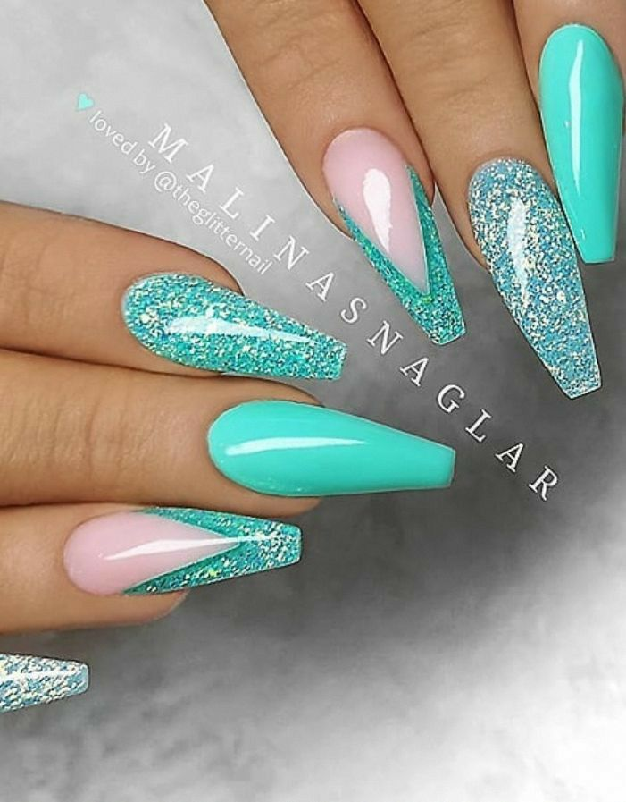 Aqua Blue With Pink And Glitter Nails In 2020 Teal Nails Elegant Nails Coffin Nails Designs