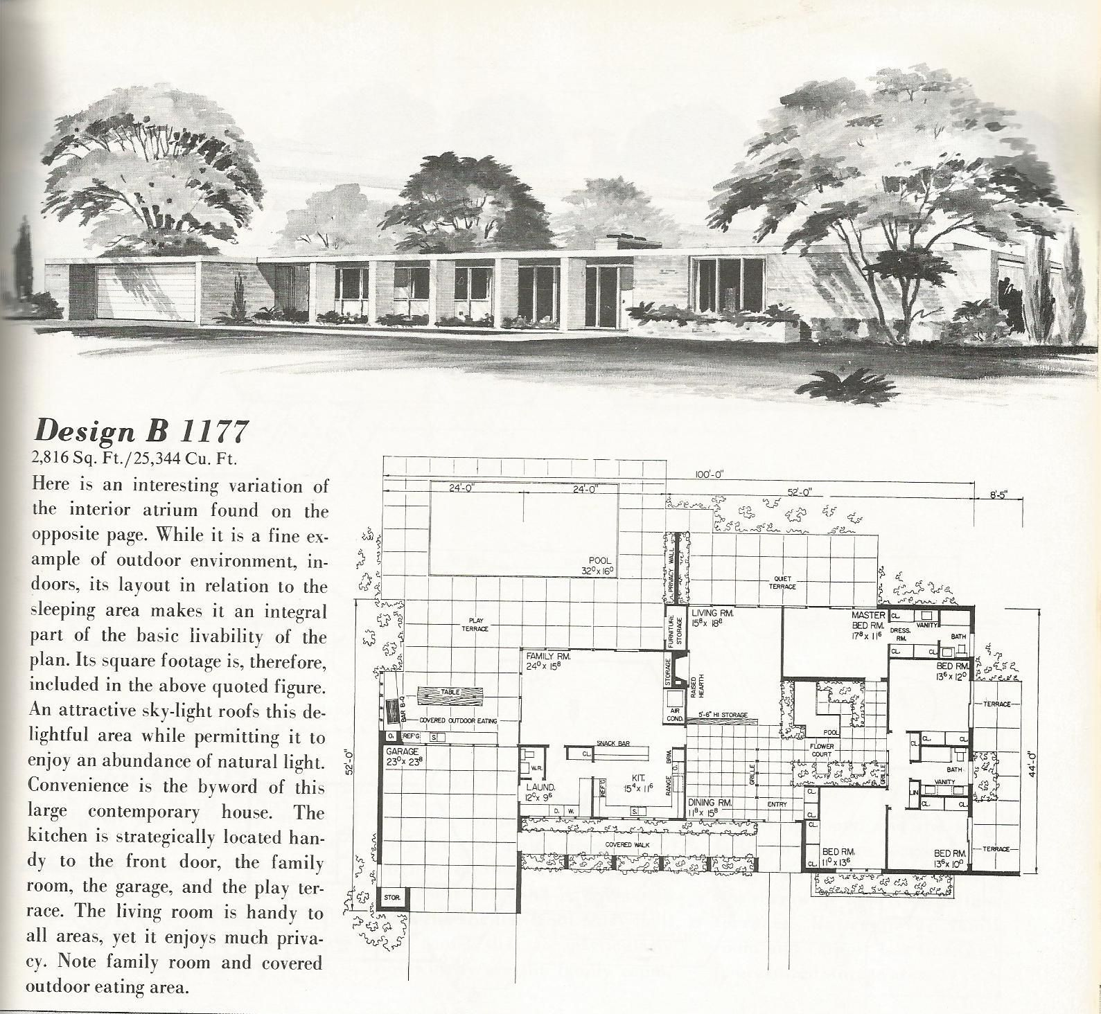 Mid Century Modern Home Designs: Vintage House Plans, Country Estates