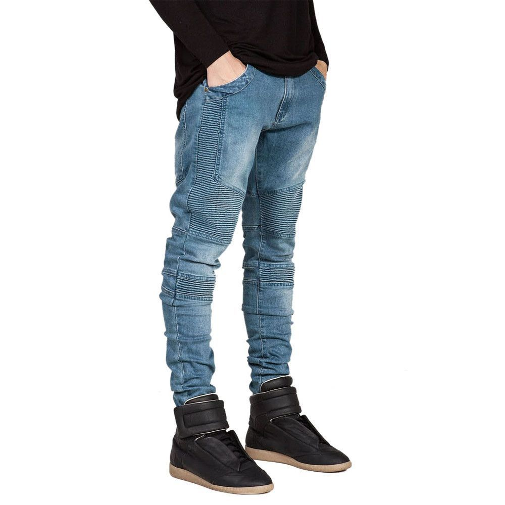 Famous Brand Men Straight Slim Fit Biker Jeans Pant Denim Trousers