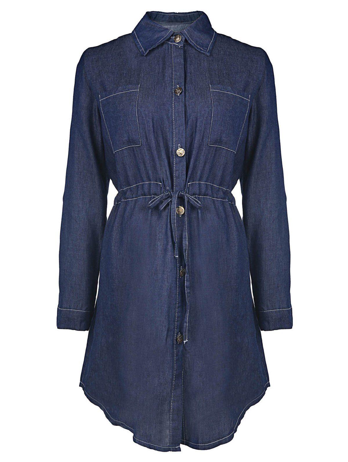 Stylish long sleeve shirt collar denim solid color womenus shirt