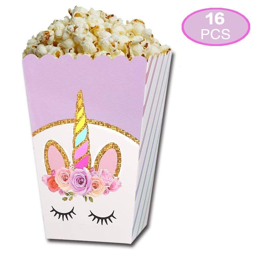6X//Lot Unicorn Theme Party Popcorn Box Candy Box Kids Birthday Party Decor SE