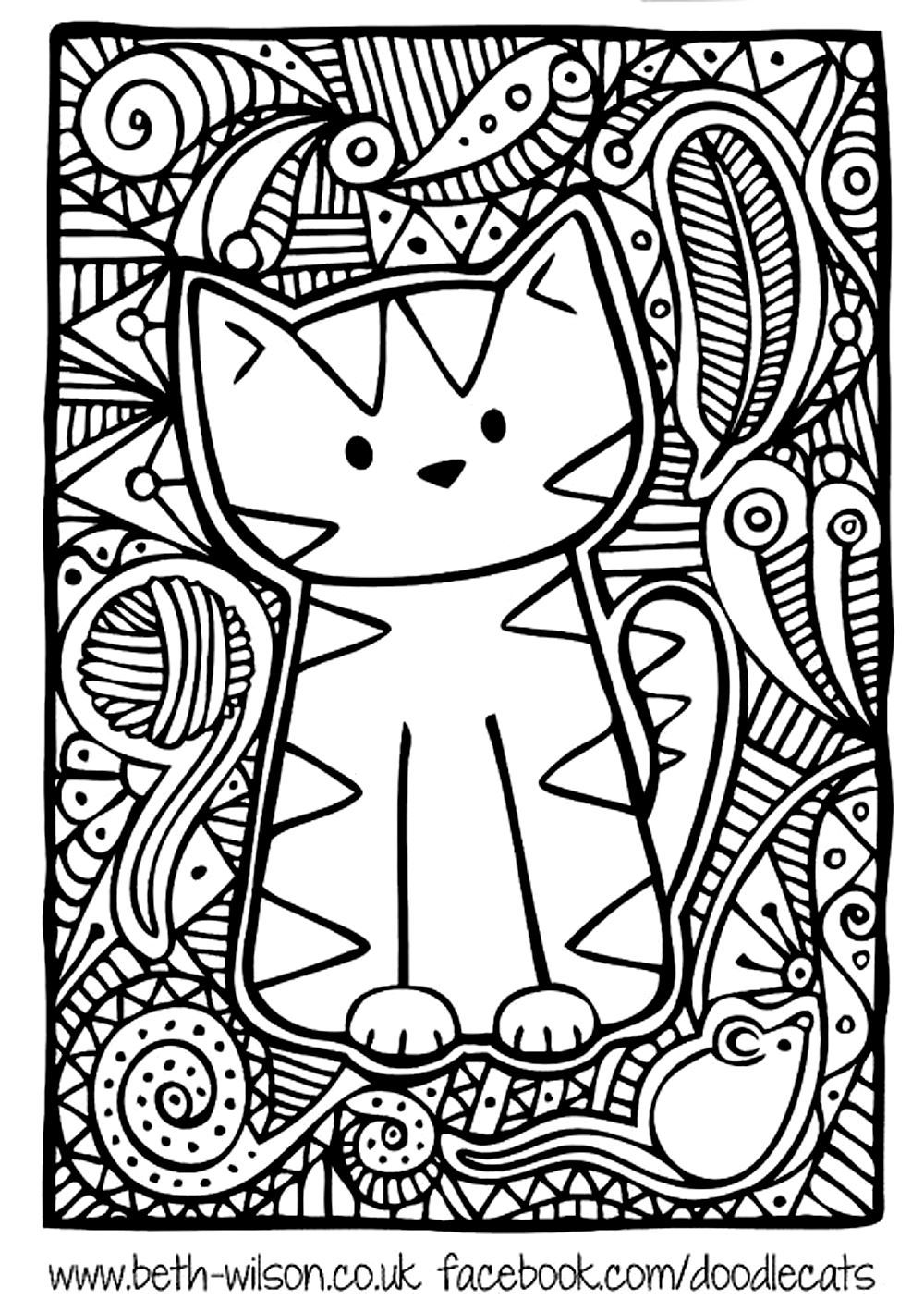 Free coloring page coloring adult difficult cute cat Easy coloring books for adults