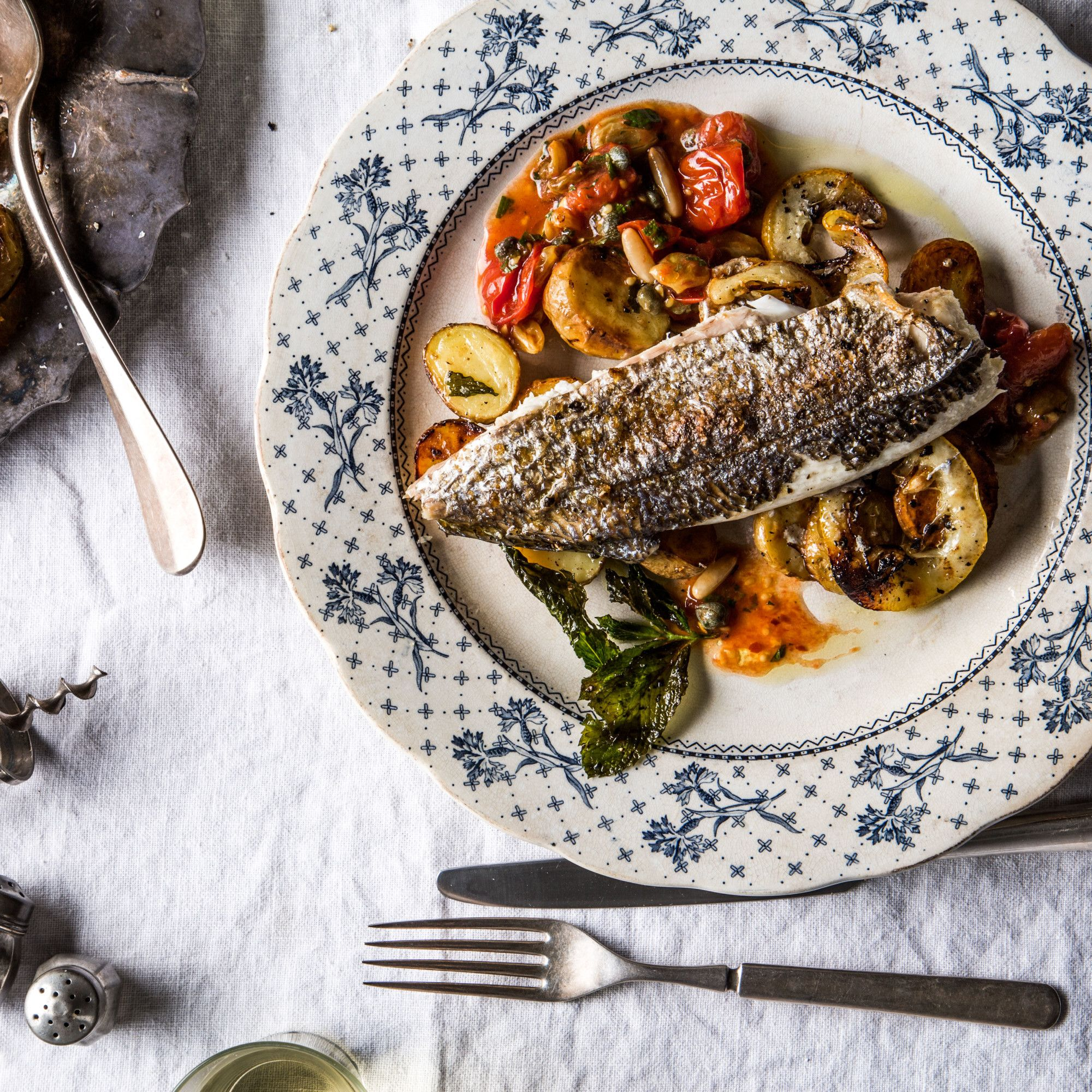 Dorade with potatoes and burst tomato sauce recipe red for Substitute for fish food