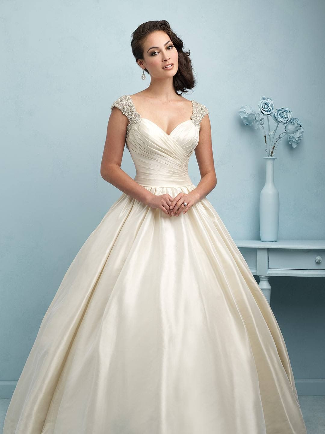 Allure Bridal Style #9155 Off-the-Shoulder Satin Ball Gown | Wedding ...