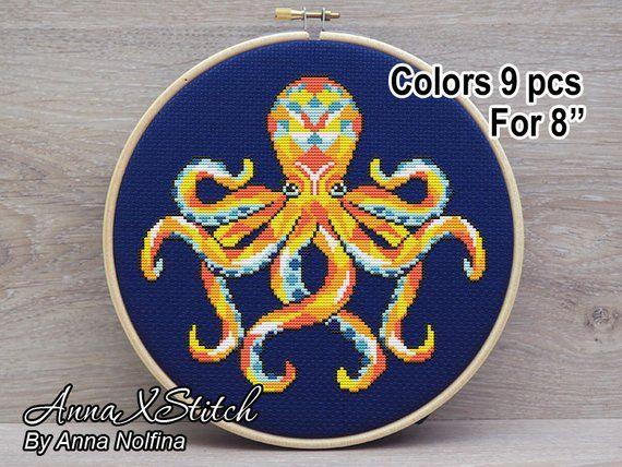 Octopus - Geometric Sea Animals - Modern cross stitch pattern pdf by