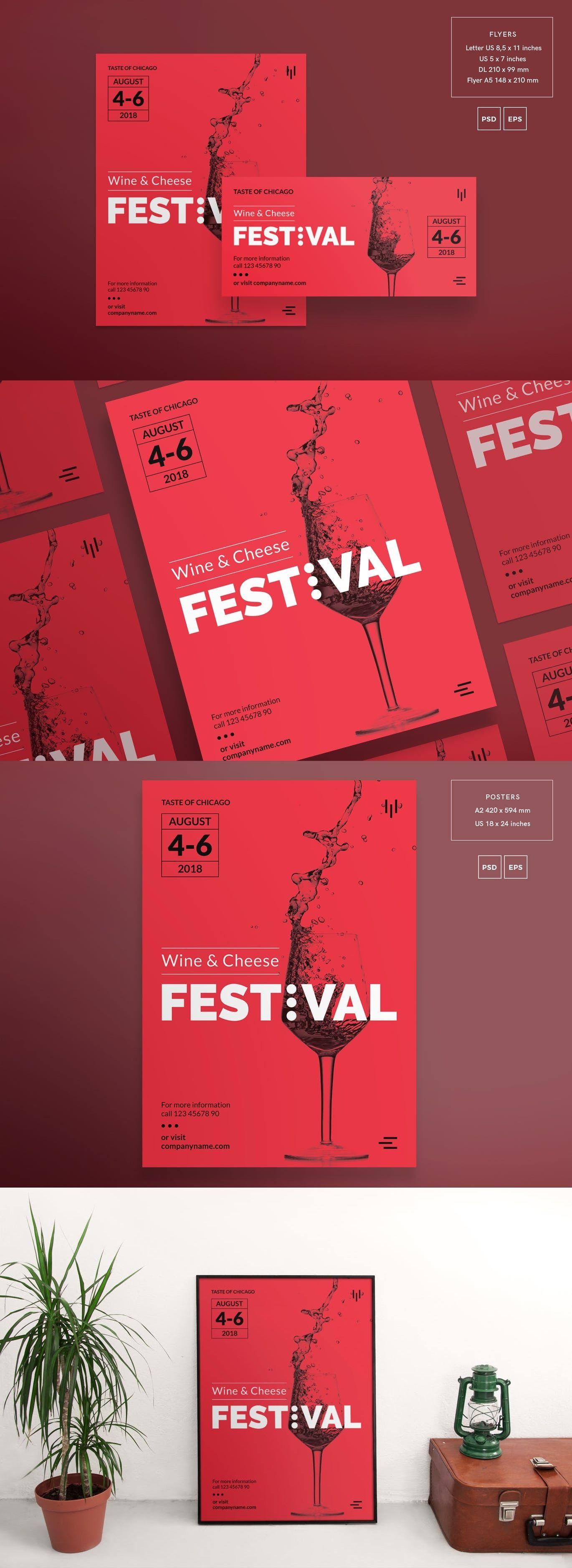 Wine Festival Flyer And Poster Template By Ambergraphics On Envato Elements Poster Template Festival Flyer Wine Poster