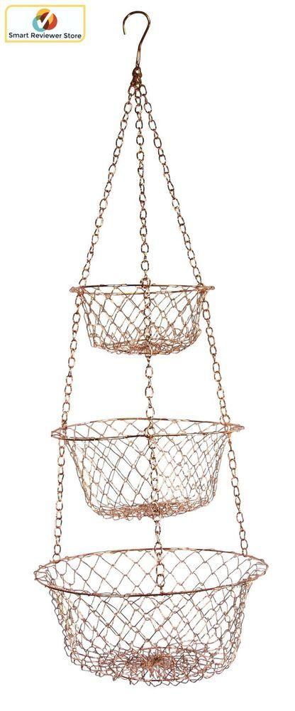 3 Tier Wire Hanging Basket Copper Home Kitchen Fruit Vegetable Organizer  Storage