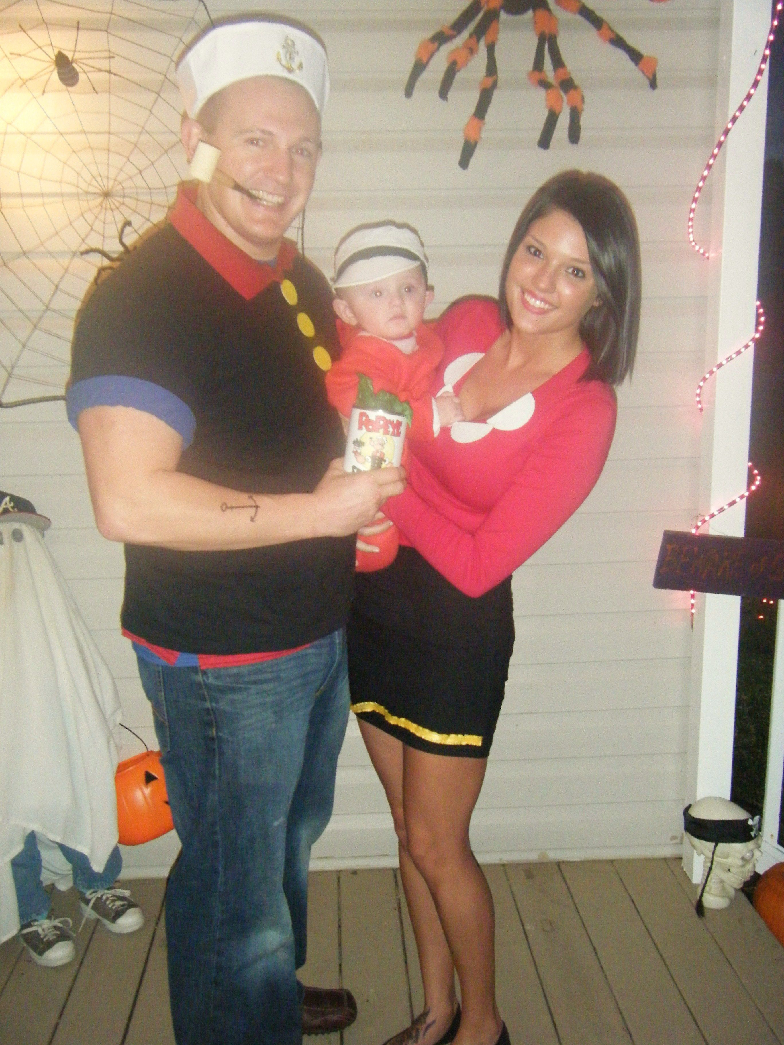 Popeye olive oyl and sweet pea halloween costumes cartoonview diy popeye and olive oyl costumes easy craft ideas solutioingenieria Choice Image
