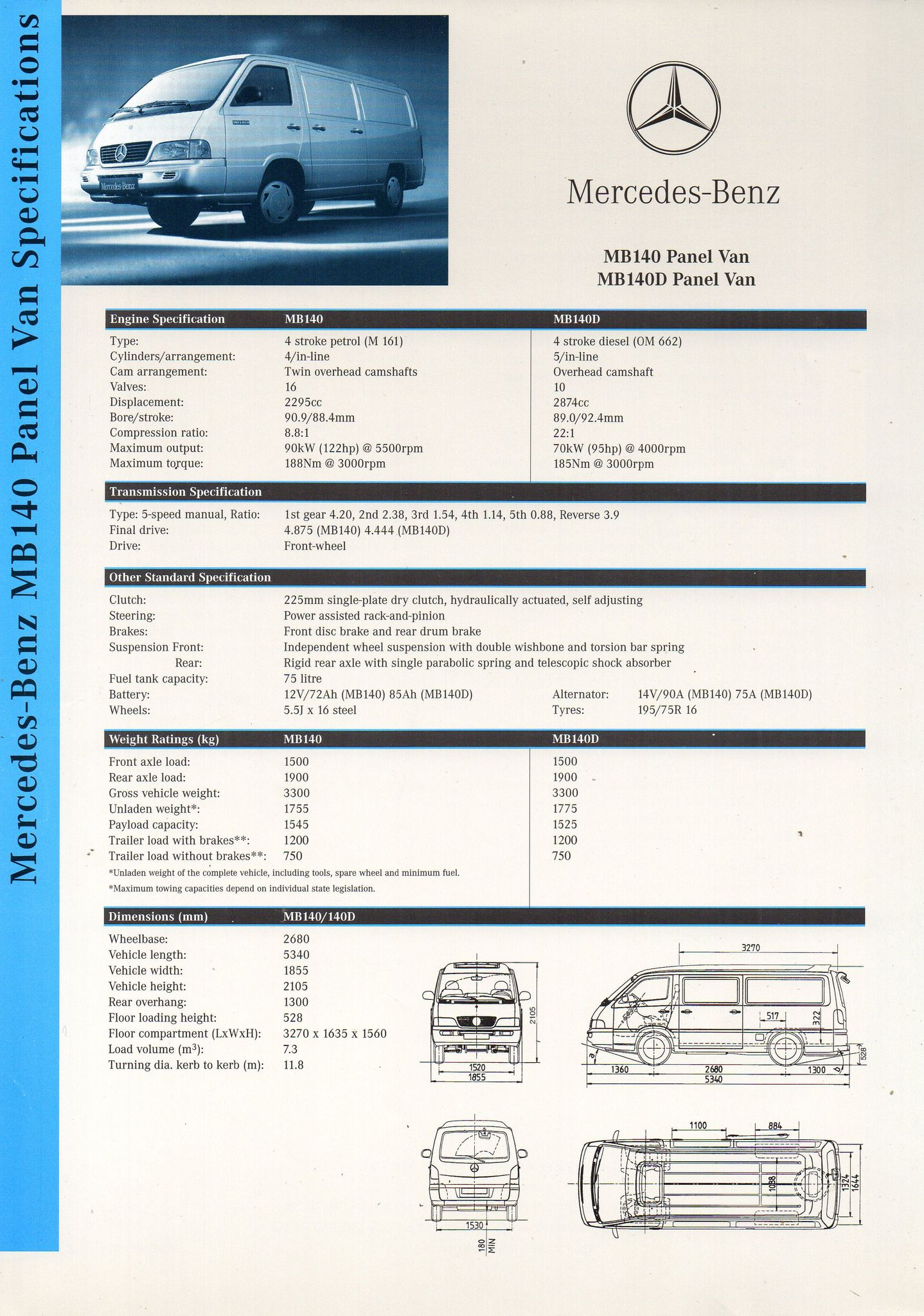 2000 Mercedes Benz Mb140 Mb140d Panel Van Specifications Double Sided Sheet Side 1 Aussie Brochure Mercedes Benz Amg Mercedes Benz Van
