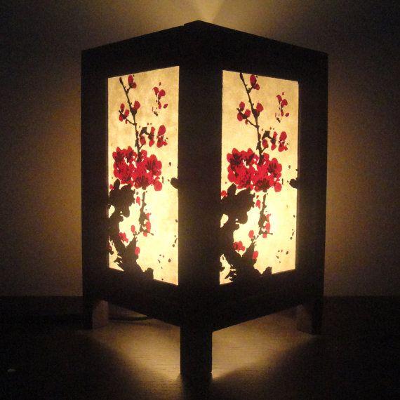 Asian Oriental Blossom Tree Japanese Lamp Zen Bedside Lamp Etsy In 2021 Japanese Lamps Bedside Table Lamps Wood Asian Home Decor