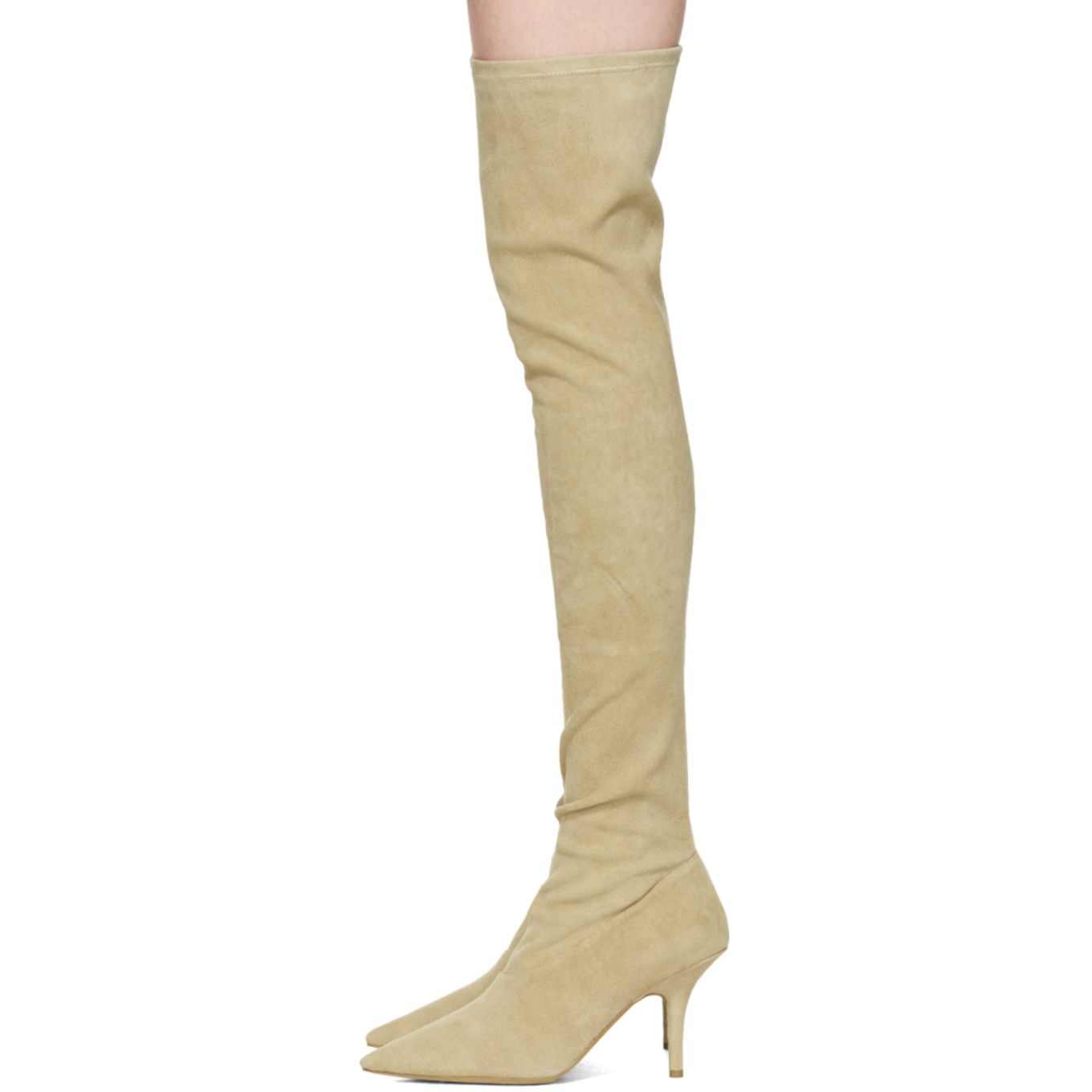 where to buy clear-cut texture pretty cool YEEZY - Taupe Suede Thigh-High Boots | brands in 2019 ...