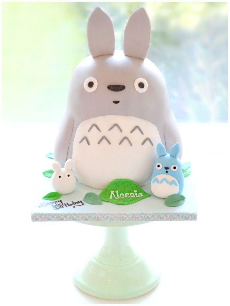 My Neighbor Totoro, Mini Blue and White Totoro Birthday Cake London Cherie Kelly