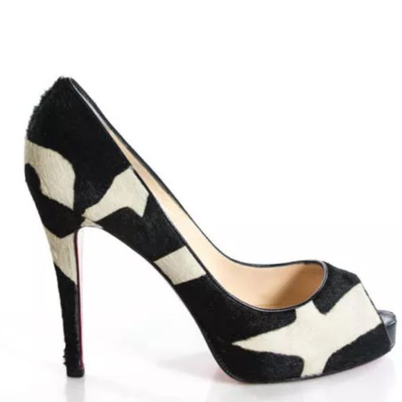 Christian Louboutin Very Prive Ponyhair Peep Heels Gorgeous Christian Louboutin Ponyhair black and ivory animal print heels. They Are 120mm and eu size 39.5. Comes with original box and dust bags. Excellent condition Christian Louboutin Shoes Heels