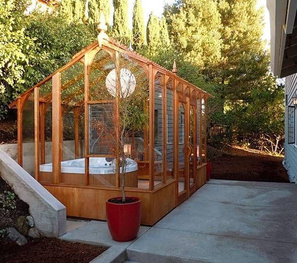Wunderschone Diy Holz Whirlpool Kit Fur Ihren Garten Greenhouse Diy In 2019 Hot Tub Gazebo Hot Tub Cover Tub Enclosures