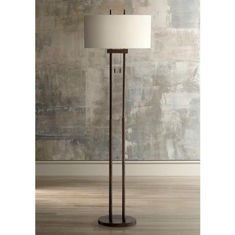 Roscoe Bronze Twin Pole Floor Lamp 1k790 Lamps Plus Transitional Floor Lamps Floor Lamp