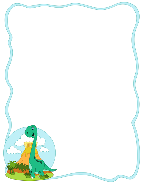 A Simple Blue Border With Cartoon Dinosaur In The Bottom Left Corner Free Downloads At Pagebordersorg Download