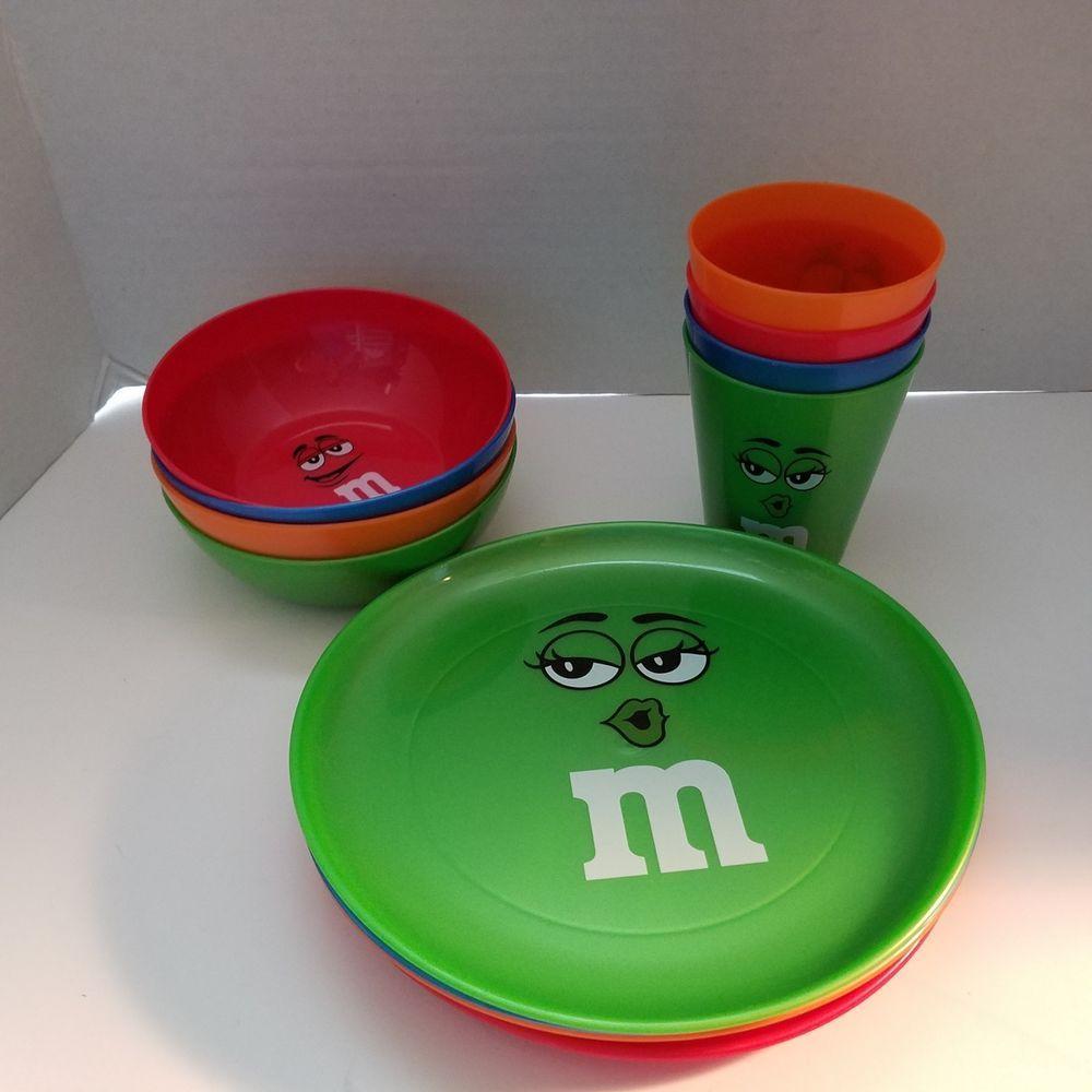 M M Set Of 4 Plastic Plates Bowls Cups Toddler Children Red Blue Green Orange Mm Plastic Plates Red Blue Green Red And Blue