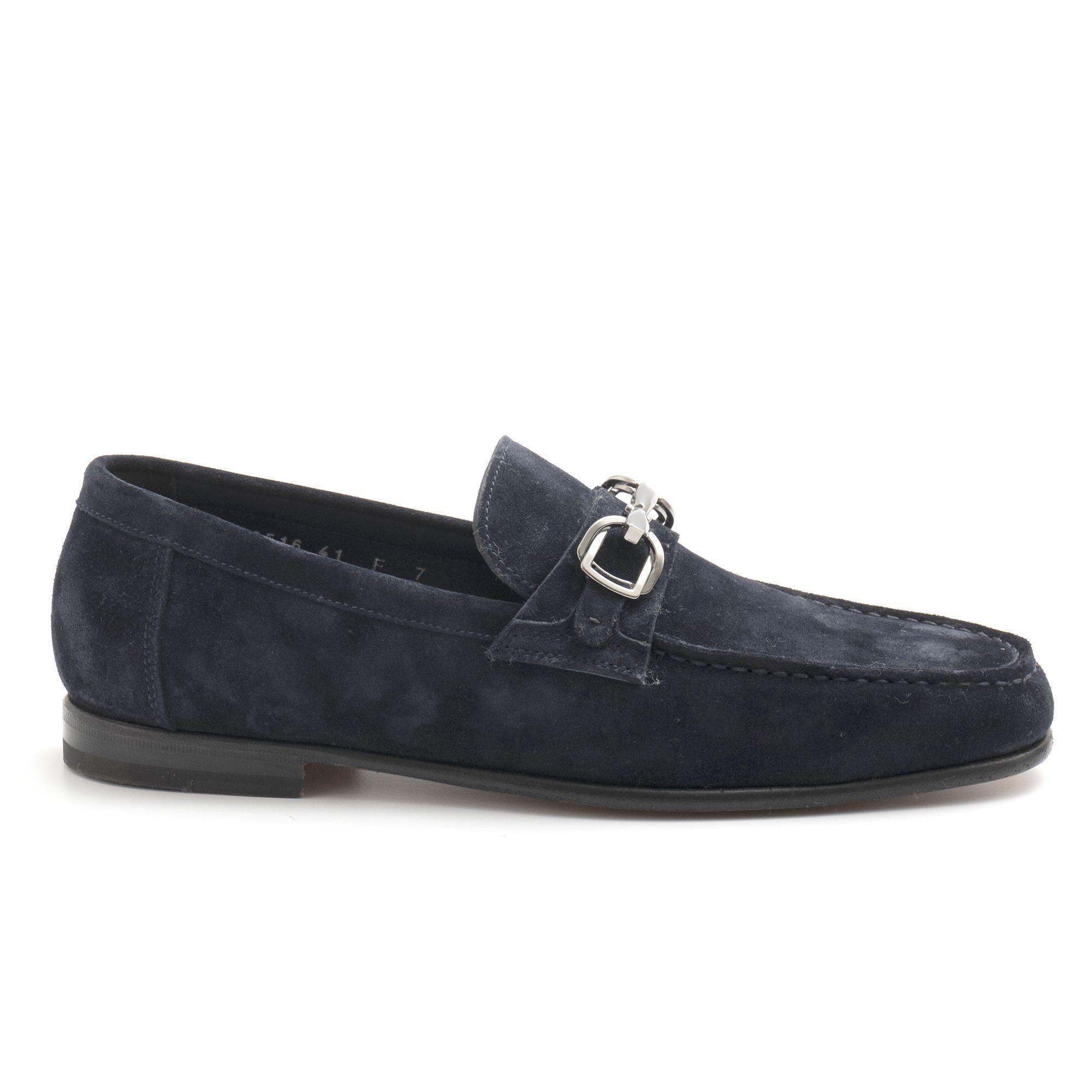 749511ed33 Mocassino con morsetto Santoni blu in camoscio | sangiorgiomerate.it ...