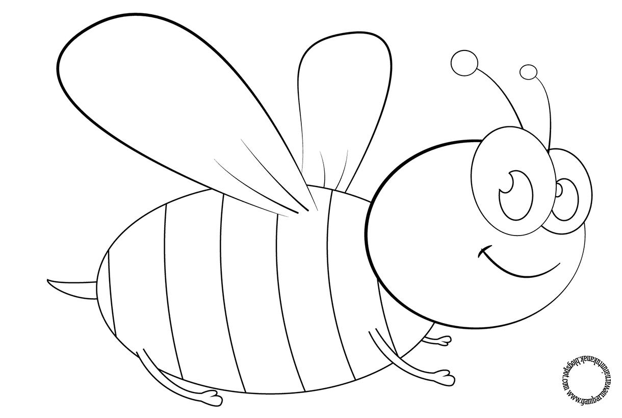 Gambar Mewarnai Kartun Lebah Untuk Anak