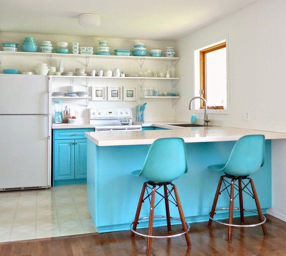 Breathtaking Turquoise Kitchen Design : Lovely Turquoise Kitchen ...