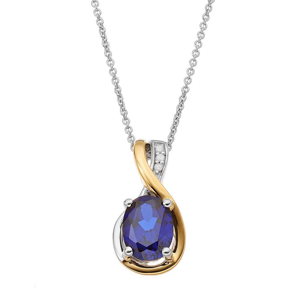 Sterling Silver Two Tone Lab Created Sapphire Teardrop Pendant Pendants Pretty Rings Diamond Earrings