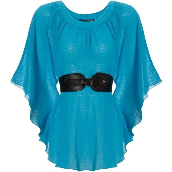 Aqua Belted Kimono Top ($24) found on Polyvore featuring tops, blouses, shirts, blue, dresses, kimono top, summer shirts, aqua blue shirt, shirts & blouses and blue blouse