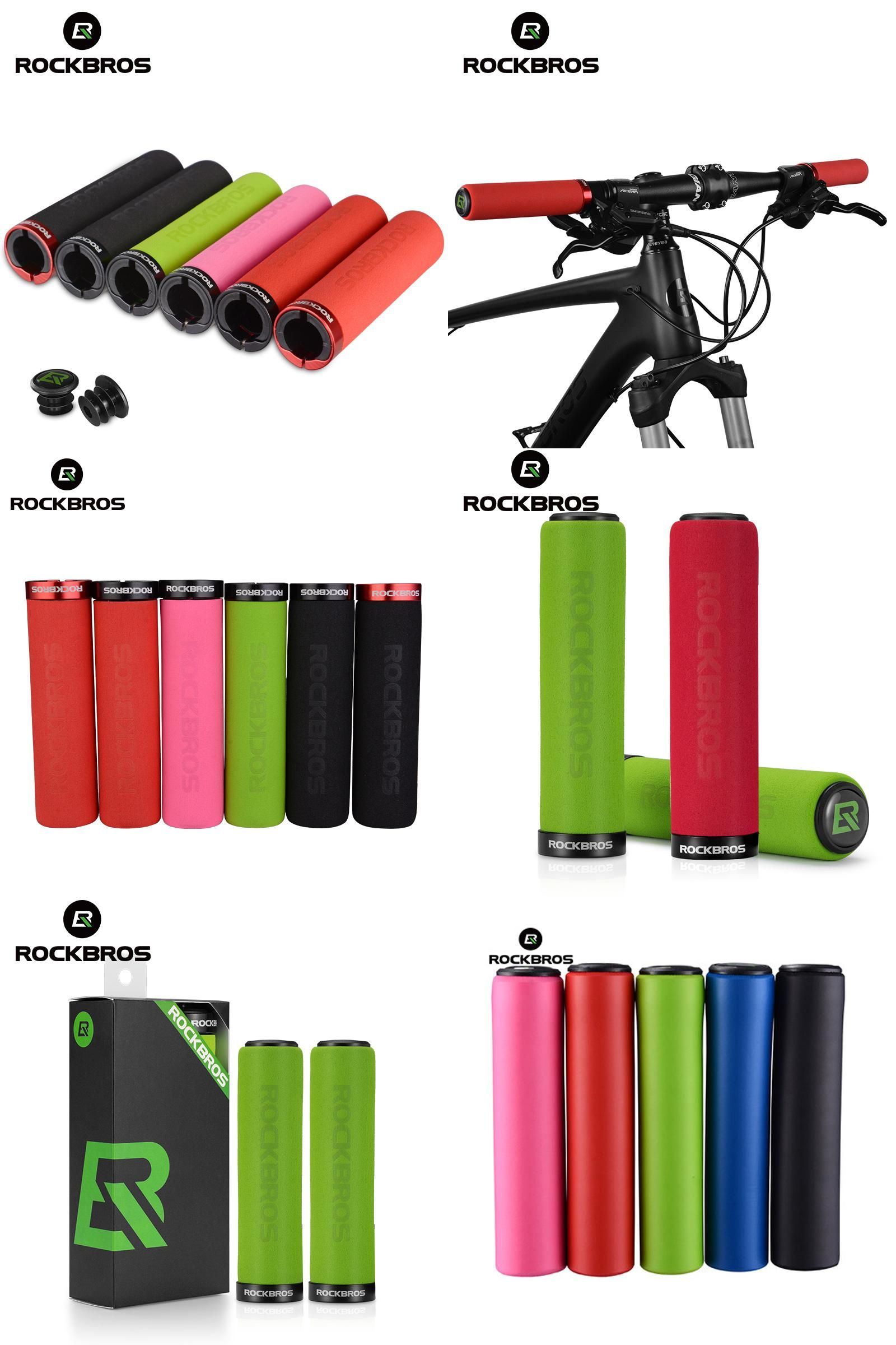 ROCKBROS Cycling Glossy Silicone Sponge Handlebar Soft Ultralight Non-slip Grips