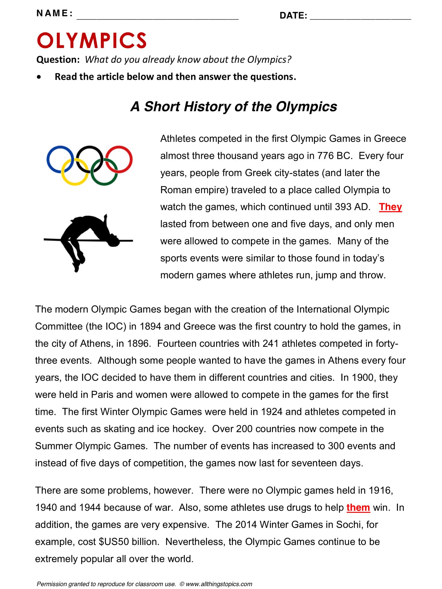 Olympics English Learning English Vocabulary Esl