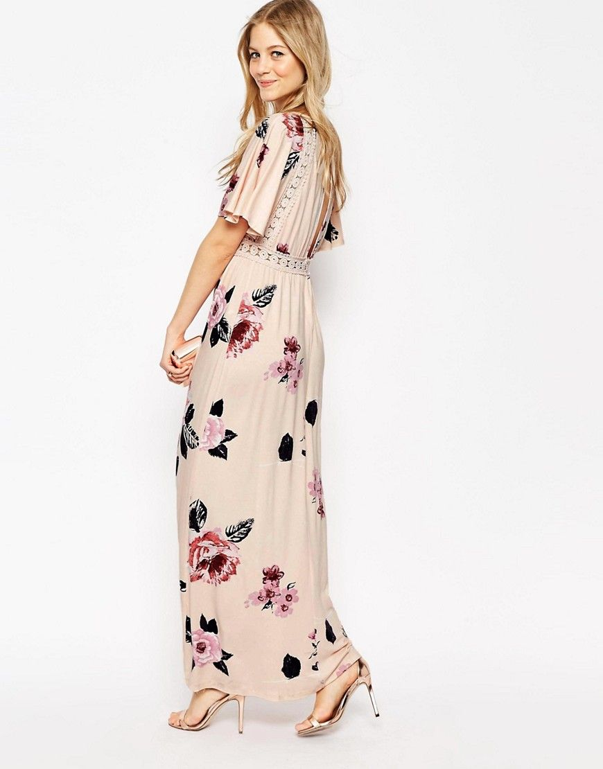 Image of asos angel sleeve maxi dress with lace inserts in floral