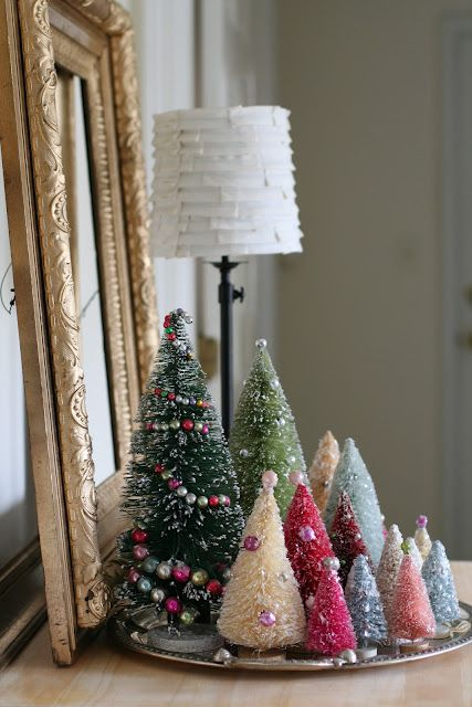 Beautiful Variety Of Bottle Brush Christmas Trees Displayed On Silver Tray Vintage Christmas Decorations Christmas Decorations Mini Christmas Tree