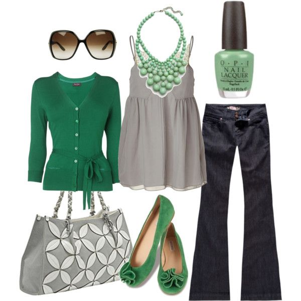 RSQ Soho Womens Flare Jeans + SCHUMACHER Silver dust silk top with lace trim + Phase Eight V-Neck Stretch Cardigan + Mellow World Rococo Handbag + Green Flats from Simply Soles + GUCCI Web Side Large Frame Sunglasses