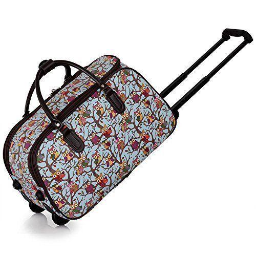 TrendStar Meine Damen #Reisetaschen Holdall Frauen Handgepäcks Eule Print Wochenende Rolliges Laufwerk #Handtasche