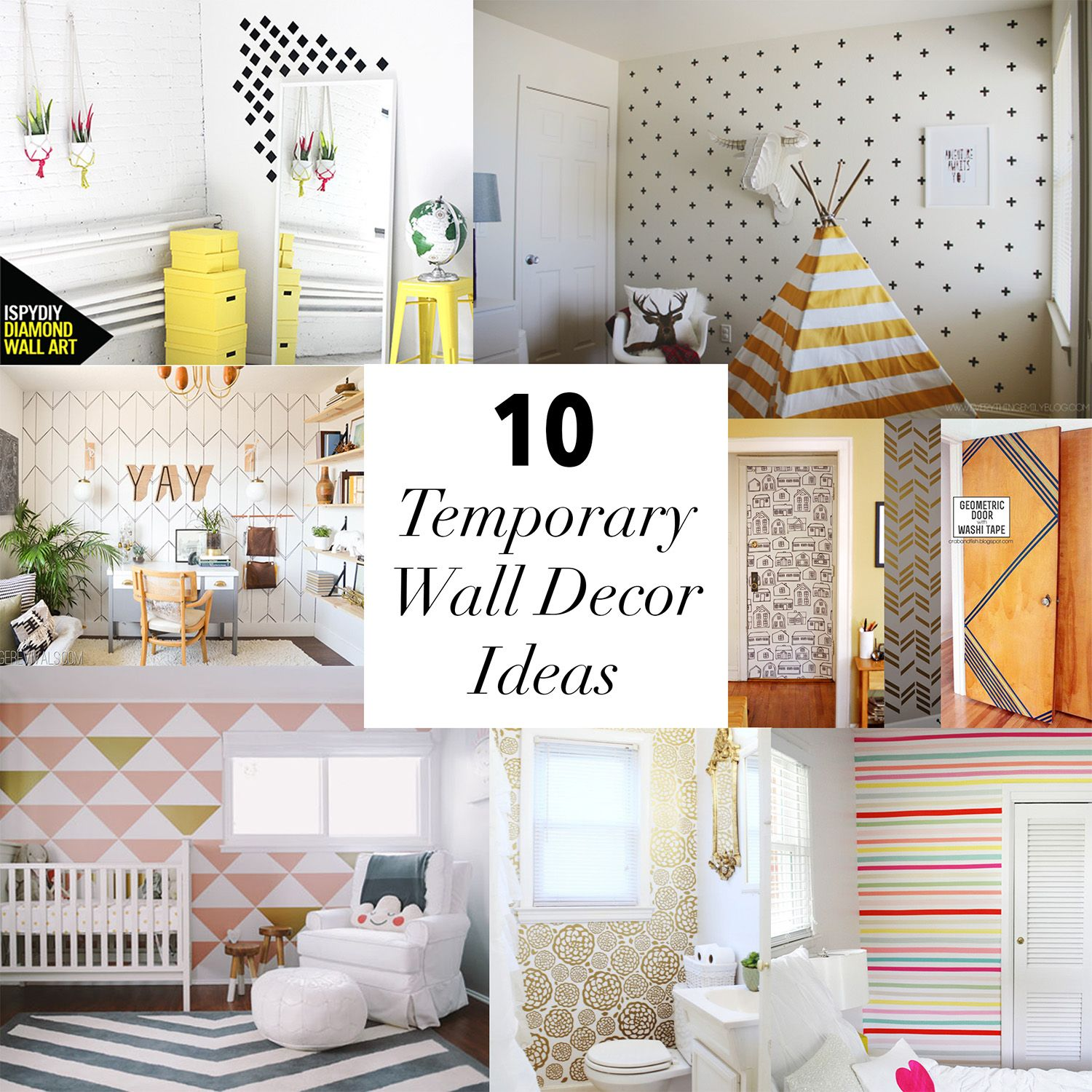 10 Temporary Wall Decor Ideas // Www.thelovelythings.com